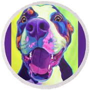 Pit Bull - Mayhem Round Beach Towel