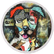 Pit Bull Round Beach Towel by Patricia Lintner