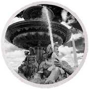 Round Beach Towel featuring the photograph Place De La Concorde Fountain by Heidi Hermes
