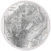 Plan Of The City Of New York Round Beach Towel