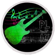 Round Beach Towel featuring the digital art Play 3 by Guitar Wacky