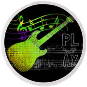 Round Beach Towel featuring the digital art Play 1 by Guitar Wacky