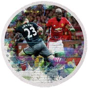 Pogba Street Art Round Beach Towel by Don Kuing