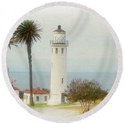 Point Vincente Lighthouse, California In Retro Style Round Beach Towel