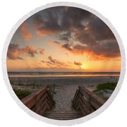 Ponce De Leon Inlet Beach Path Round Beach Towel