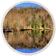 Round Beach Towel featuring the photograph Pond Reflections by David Patterson