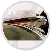 Round Beach Towel featuring the painting Pontiac Ornament  by Alan Johnson