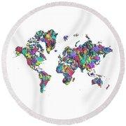Round Beach Towel featuring the digital art Pop Art World Map - Splashes by Melanie Viola