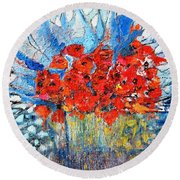 Round Beach Towel featuring the painting Poppies by Evelina Popilian