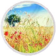 Round Beach Towel featuring the photograph Poppies With Tree In The Distance by Silvia Ganora