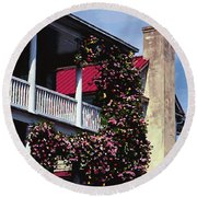 Porch In Bloom Round Beach Towel