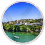 Port Isaac In Cornwall, Uk Round Beach Towel by Chris Smith