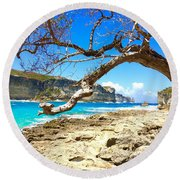 Porte D Enfer, Guadeloupe Round Beach Towel