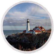 Portland Head Light Round Beach Towel