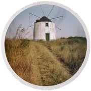 Round Beach Towel featuring the photograph Portuguese Windmill by Carlos Caetano