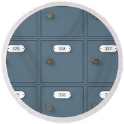 Post Office Boxes Round Beach Towel