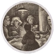 Potato Eaters, 1885 Round Beach Towel