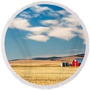 Prairie Red Round Beach Towel