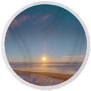 Prairie Winter Sunset Round Beach Towel