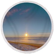 Prairie Winter Sunset Round Beach Towel
