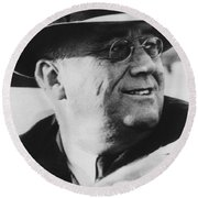 Round Beach Towel featuring the photograph President Franklin Roosevelt by War Is Hell Store