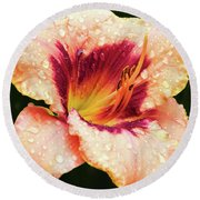 Round Beach Towel featuring the photograph Pretty Flower by Elvira Ladocki