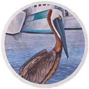 Pride Of Shem Creek Round Beach Towel