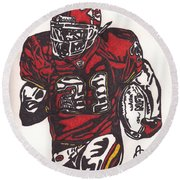 Round Beach Towel featuring the drawing Priest Holmes 2 by Jeremiah Colley