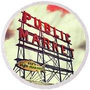 Public Market Round Beach Towel by Susan Stone
