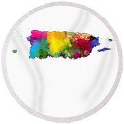 Puerto Rico Watercolor Map Round Beach Towel