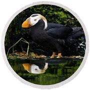 Puffin Reflected Round Beach Towel
