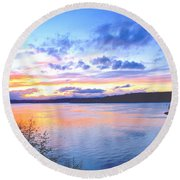 Round Beach Towel featuring the photograph Puget Sound Sunset by Sean Griffin