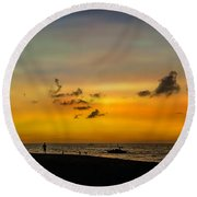 Puka Beach Sunset  Round Beach Towel