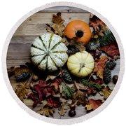 Pumpkins Round Beach Towel by Rebecca Cozart