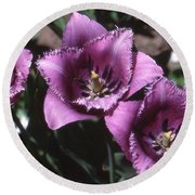 Purple Flowers Two  Round Beach Towel by Lyle Crump