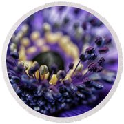 Purple Heart Of A Flower Round Beach Towel by Patricia Hofmeester