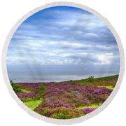 Purple Heather On Exmoor, Uk Round Beach Towel