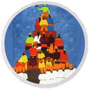 Pyramid Of African Drummers Round Beach Towel