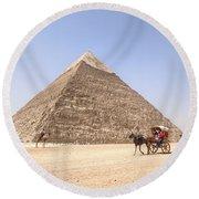 Pyramid Of Khafre - Egypt Round Beach Towel