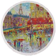 Quartier Latin Paris Round Beach Towel