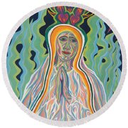 Queen Of Heaven Round Beach Towel