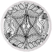 Round Beach Towel featuring the drawing Queen Of Spades 2 by Jani Freimann