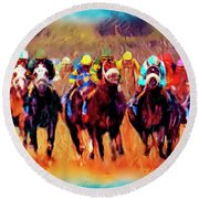 Race To The Finish Round Beach Towel