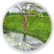 Round Beach Towel featuring the painting Rain Tree On The Way To Ubud Bali Indonesia by Melly Terpening