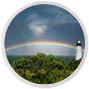 Rainbow At Portland Headlight Round Beach Towel