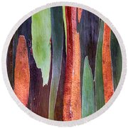 Round Beach Towel featuring the photograph Rainbow Eucalyptus by Susan Rissi Tregoning