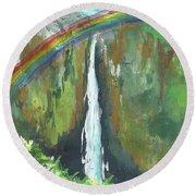 Rainbow Falls  Round Beach Towel