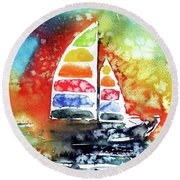 Rainbow Sailboat At Sunset Round Beach Towel by Kovacs Anna Brigitta