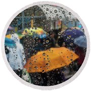 Raining Round Beach Towel