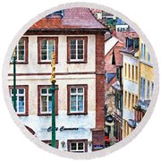 Rainy Day In Heidelberg Round Beach Towel